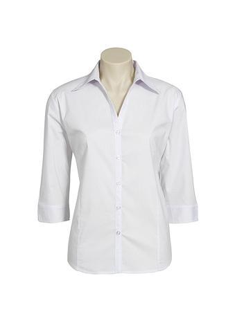 2172-PO-EHE WHITE Ladies 3/4 fitted shirt